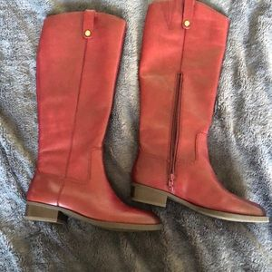 INC red leather boots size 6.5